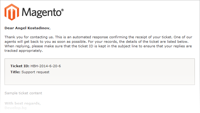 Magento Help Desk Email notification