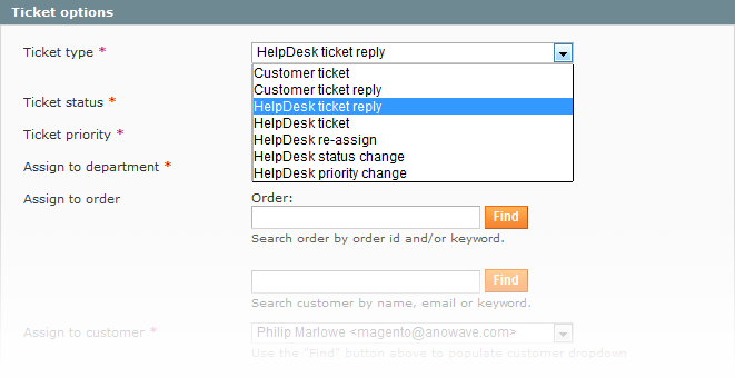 Magento Help Desk Ticket options